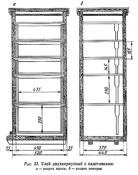 улей двухкорпусной с надставками (типовой проект 3.808-2)